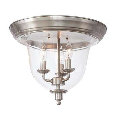 3-Light Brushed Nickel Flush Mount with Clear Glass
