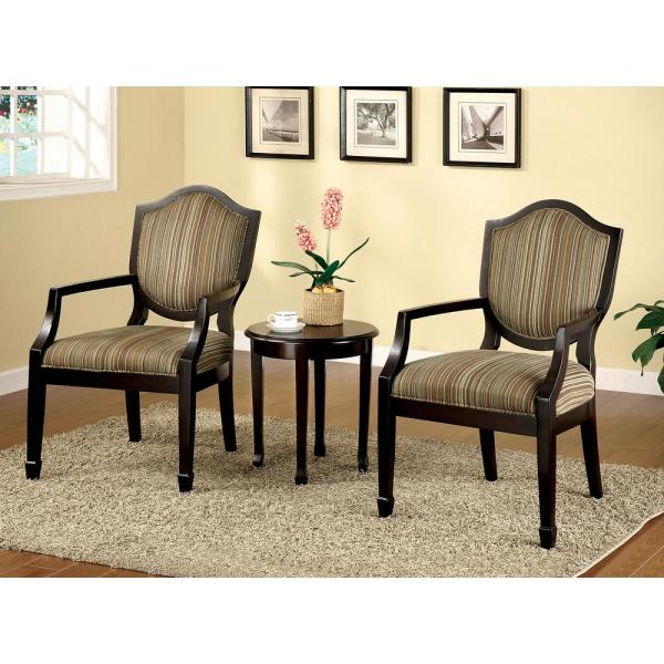 Accent Chairs.Bernetta Espresso Ii Set Of Table And Accent Chairs Medieval