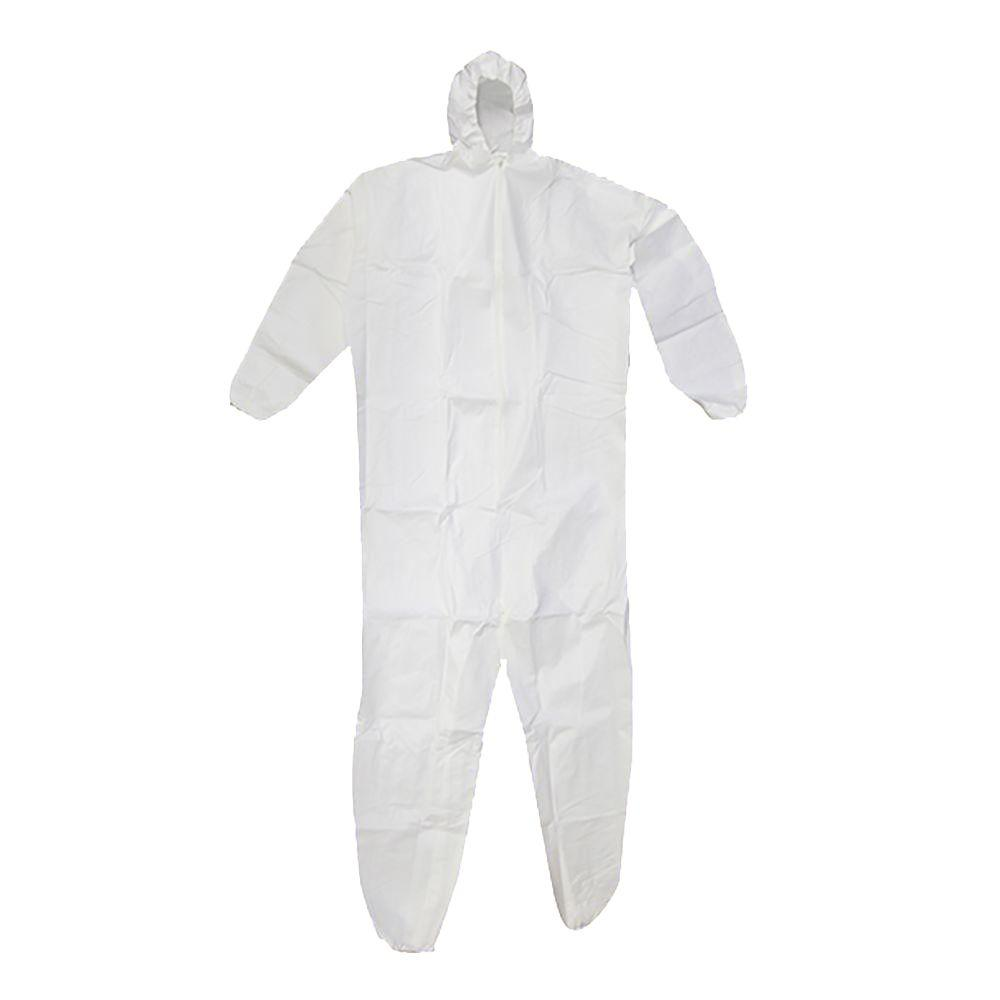 SuperTuff Men or Women's X-Large White Heavy Duty Coverall with Hood (2-Pack)