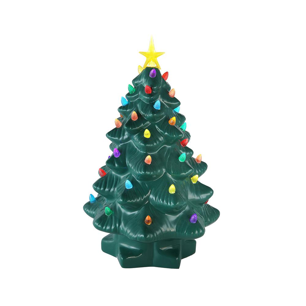 mr christmas 1425 in christmas porcelain nostalgic tree in green 17376 the home depot - Mr Christmas Tree