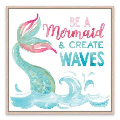 """Be A Mermaid And Create Waves"" by Lot26 Studio Framed Printed Canvas Wall Art"