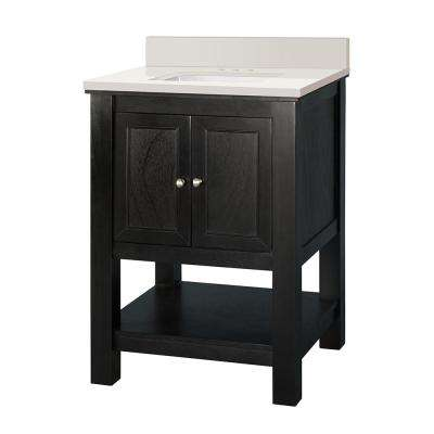 Gazette 25 in. W x 22 in. D Vanity in Espresso with Engineered Marble Vanity Top in Winter White with White Sink