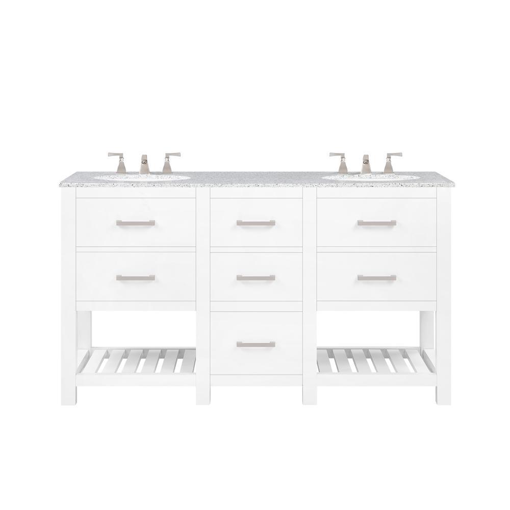 Fraser 60 in. W Bath Vanity in White with Granite Vanity Top in White with White Basin