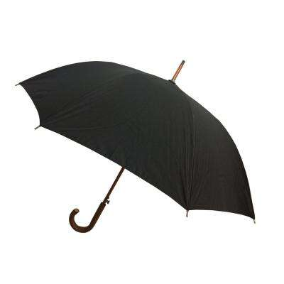 48 in. Arc Canopy Auto Open Stick Umbrella in Black
