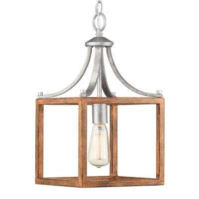 Boswell Quarter Collection 1-Light Galvanized Mini-Pendant with Painted Chestnut Wood Accents