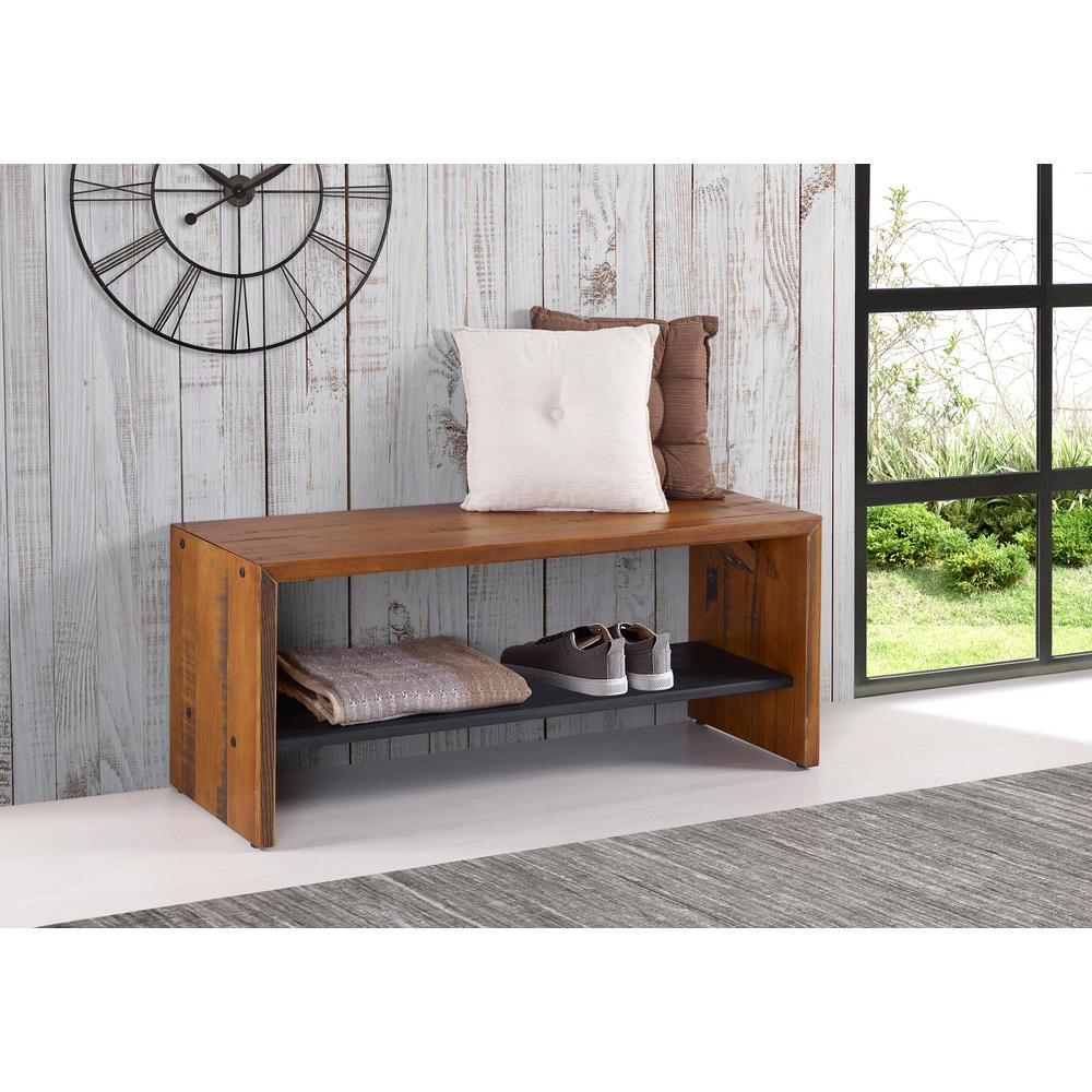 Walker edison furniture company 42 in amber solid reclaimed wood entry bench
