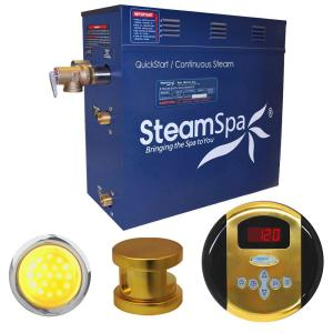 SteamSpa Indulgence 9kW Steam Bath Generator Package in Polished Brass by SteamSpa