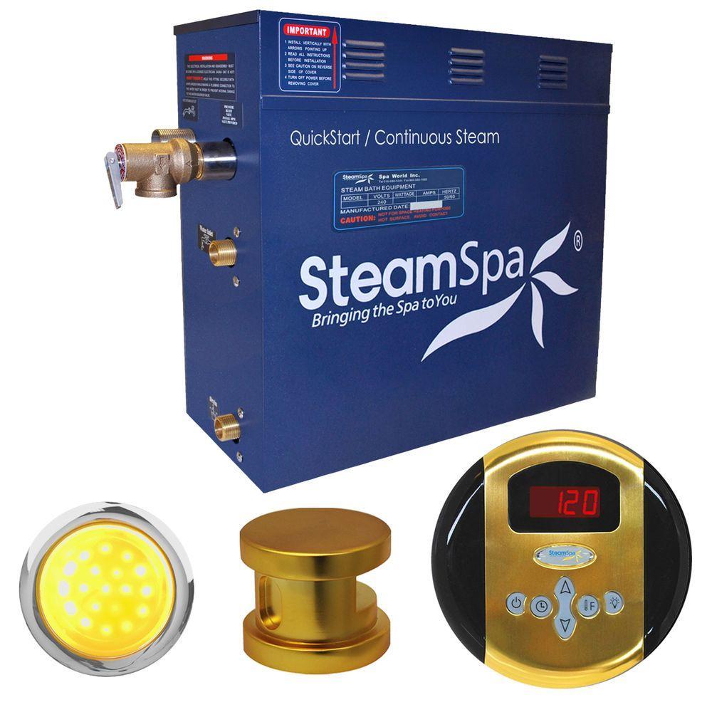 Indulgence 9kW Steam Bath Generator Package in Polished Brass