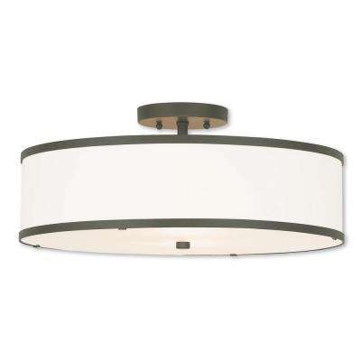 Park Ridge 3-Light Bronze Semi-Flushmount