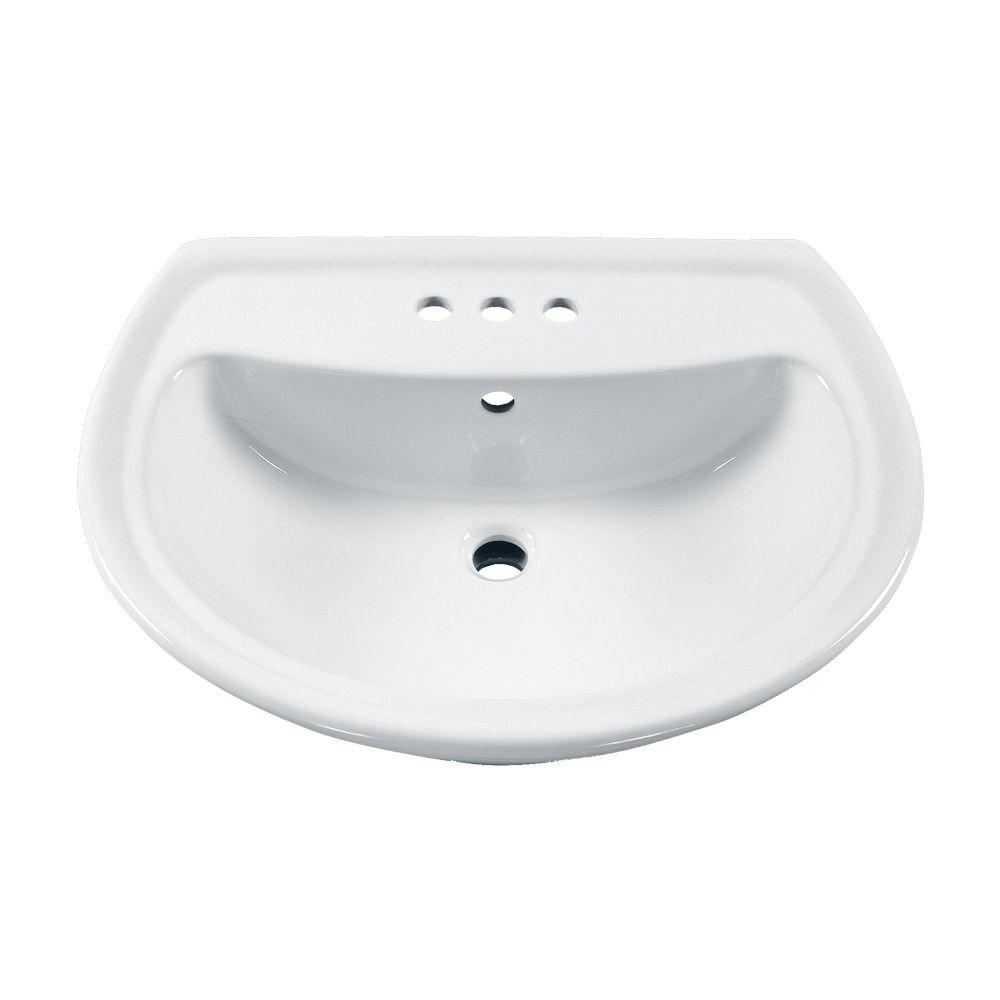 Cadet 6 in. Pedestal Sink Basin with 4 in. Faucet Centers