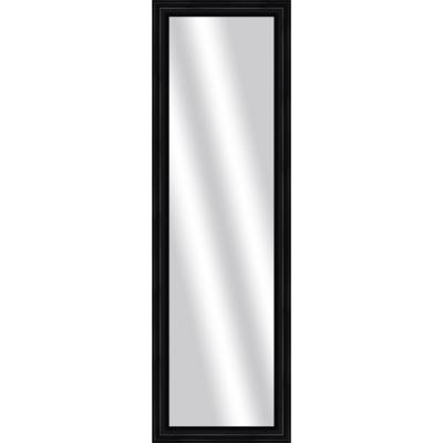 Large Rectangle Wood Grain Black Art Deco Mirror (53 in. H x 17 in. W)