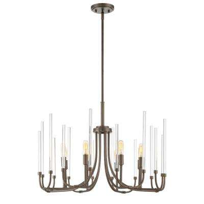Laretto 8-Light Satin Copper Bronze Chandelier with Clear Smooth Glass Rods Shade