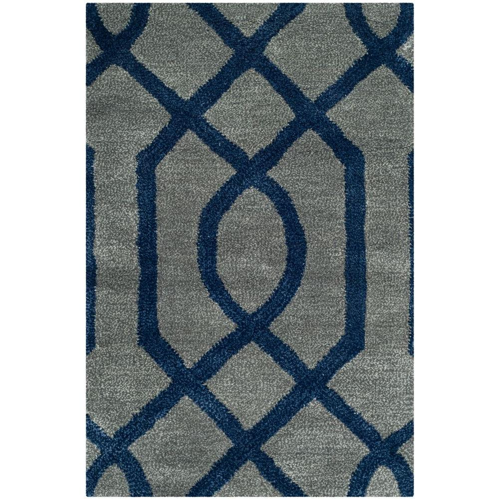 Soho Grey/Dark Blue 2 ft. x 3 ft. Area Rug
