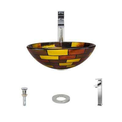 Glass Vessel Sink in Stained Glass with 721 Faucet and Pop-Up Drain in Chrome