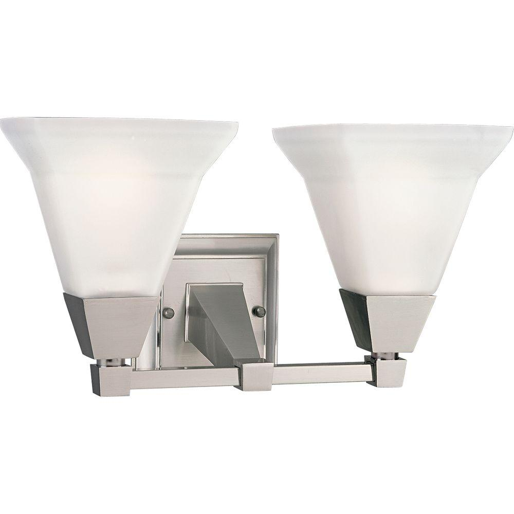 square bathroom lights progress lighting glenmont collection 2 light brushed 14537 | brushed nickel progress lighting vanity lighting p3136 09 64 1000