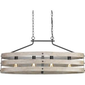 Gulliver 4-Light Graphite Island Chandelier with Weathered Gray Wood Accents