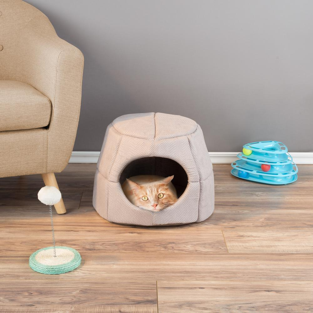 Pleasing Petmaker Small Brown 2 In 1 Convertible Pet Bed With Enclosed Cave Customarchery Wood Chair Design Ideas Customarcherynet