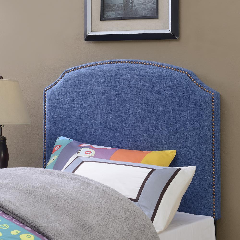 American Woodcrafters Simone Ocean Blue Twin Upholstered Headboard Image