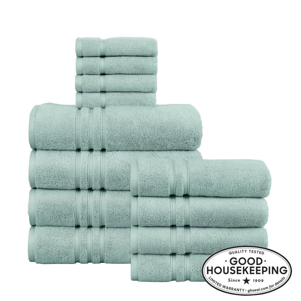 Turkish Cotton Ultra Soft 12-Piece Towel Set in Aqua