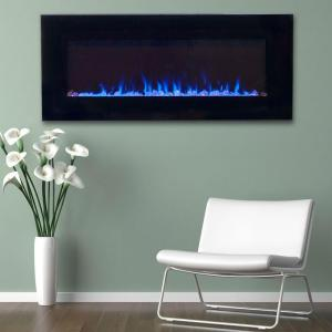 Northwest 42 inch LED Fire and Ice Electric Fireplace with Remote in Black by Northwest