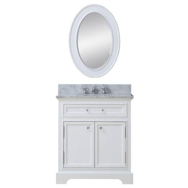 30 in. W x 22 in. D Vanity in White with Marble Vanity Top in Carrara White and Mirror