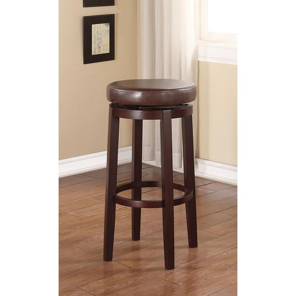 linon home decor maya 29 in brown cushioned bar stool 98353brn 01 kd the home depot. Black Bedroom Furniture Sets. Home Design Ideas