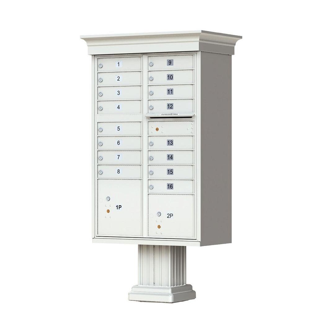16 Mailboxes 2 Parcel Lockers 1 Outgoing Pedestal Mount Cluster Box Unit