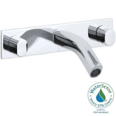 Oblo 2-Handle Wall Mount Water-Saving Bathroom Faucet in Polished Chrome