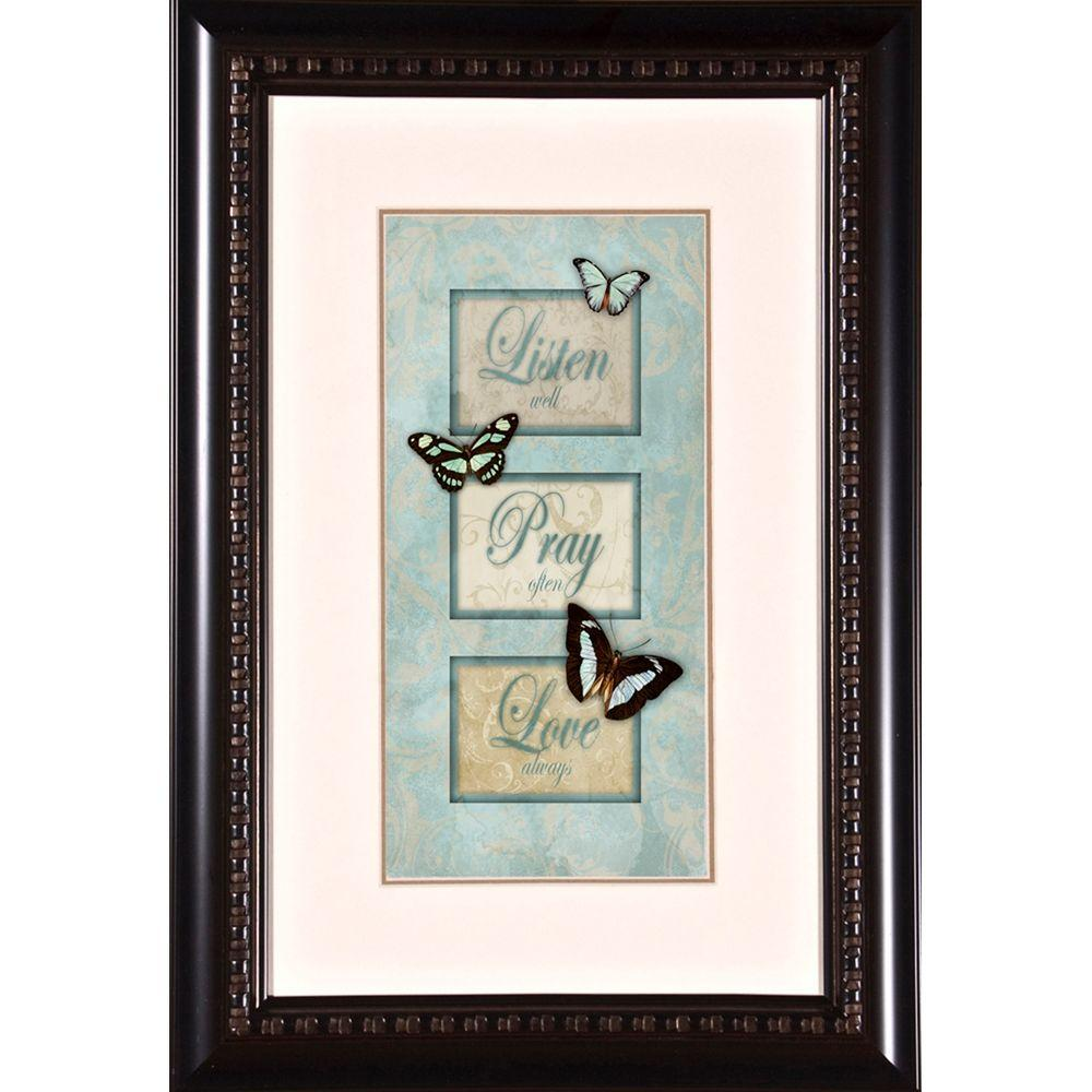 "null 13 in. x 19 in. ""Listen Pray Love A"" Framed Wall Art"