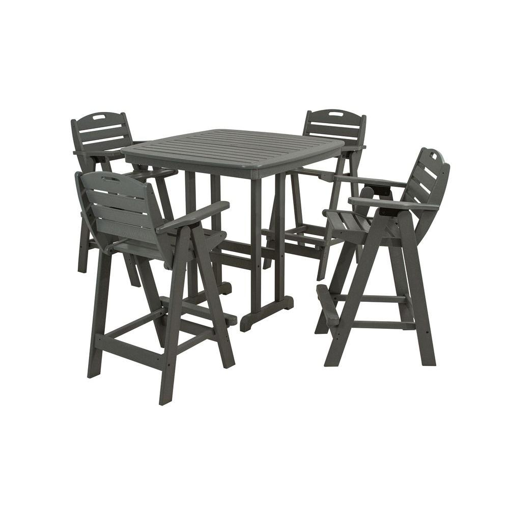 Nautical Slate Grey 5-Piece Plastic Outdoor Patio Bar Set