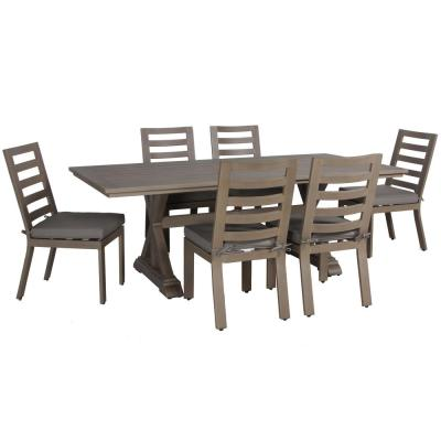Aruba Patio 7-Piece Aluminum Outdoor Dining Set with Sunbrella Spectrum Grey Cushions