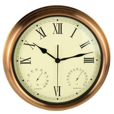 15 in. Copper Clock, Thermometer and Hygrometer