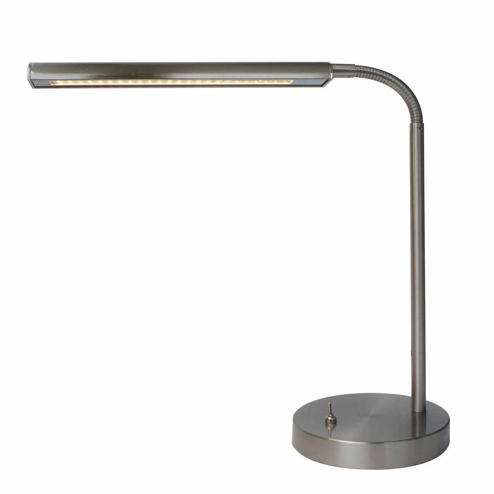Hampton Bay 14.7 in. Satin Indoor LED Gooseneck Table Lamp ...