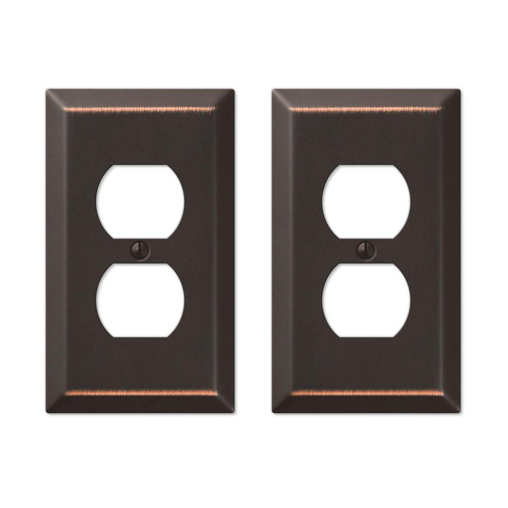 Metallic Steel 1 Duplex Outlet Plate - Oil-Rubbed Bronze Cast (2-Pack)