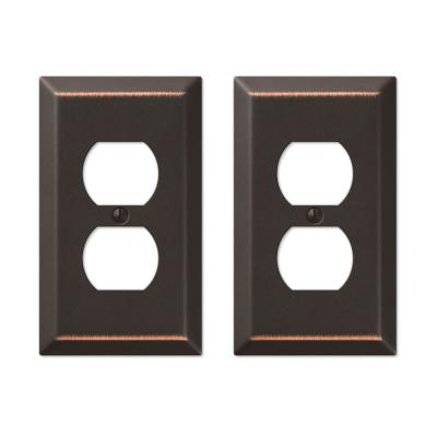 Metallic 1 Gang Duplex Steel Wall Plate - Aged Bronze (2-Pack)