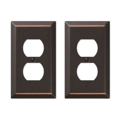 Metallic Steel 1 Duplex Outlet Plate in Aged Bronze Cast (2-Pack)
