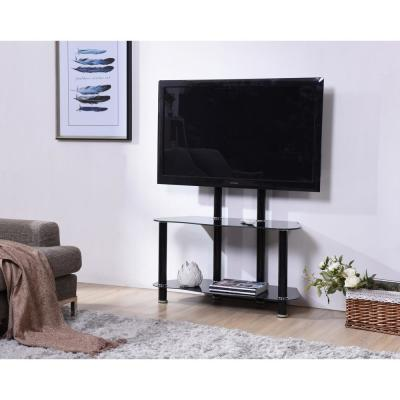 Hodedah 35 in. Black Glass TV Stand Fits TVs Up to 55 in. with Cable Management