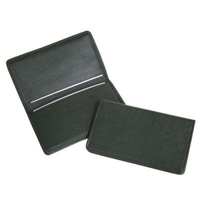 Green Business Card Case in Genuine Leather