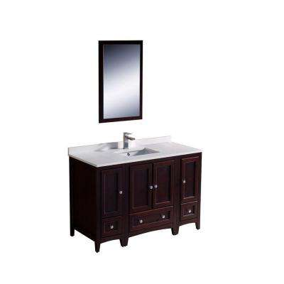 Oxford 48 in. Vanity in Mahogany with Ceramic Vanity Top in White with White Basin and Mirror