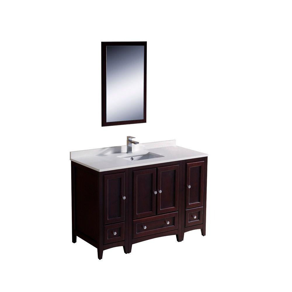 Fresca Oxford 48 in. Vanity in Mahogany with Ceramic Vanity Top in White with White Basin and Mirror