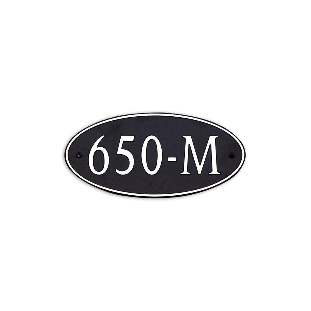 12 in. L x 6 in. W Medium Oval Custom Plastic Address Plaque Nickel on Black