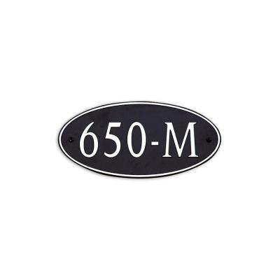 12 in. L x 6 in. W Medium Oval Custom Plastic Address Plaque Nickel on Black