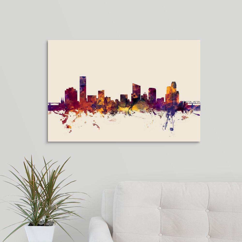GreatBigCanvas Grand Rapids Michigan Skyline By Michael Tompsett Canvas Wall Art 2448254 24 30x20