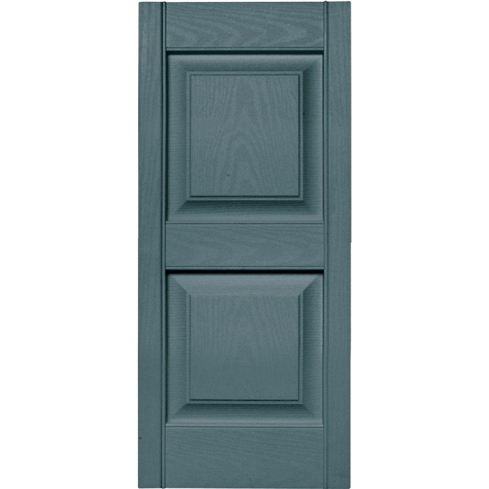 15 in. x 35 in. Raised Panel Vinyl Exterior Shutters Pair in #004 Wedgewood Blue