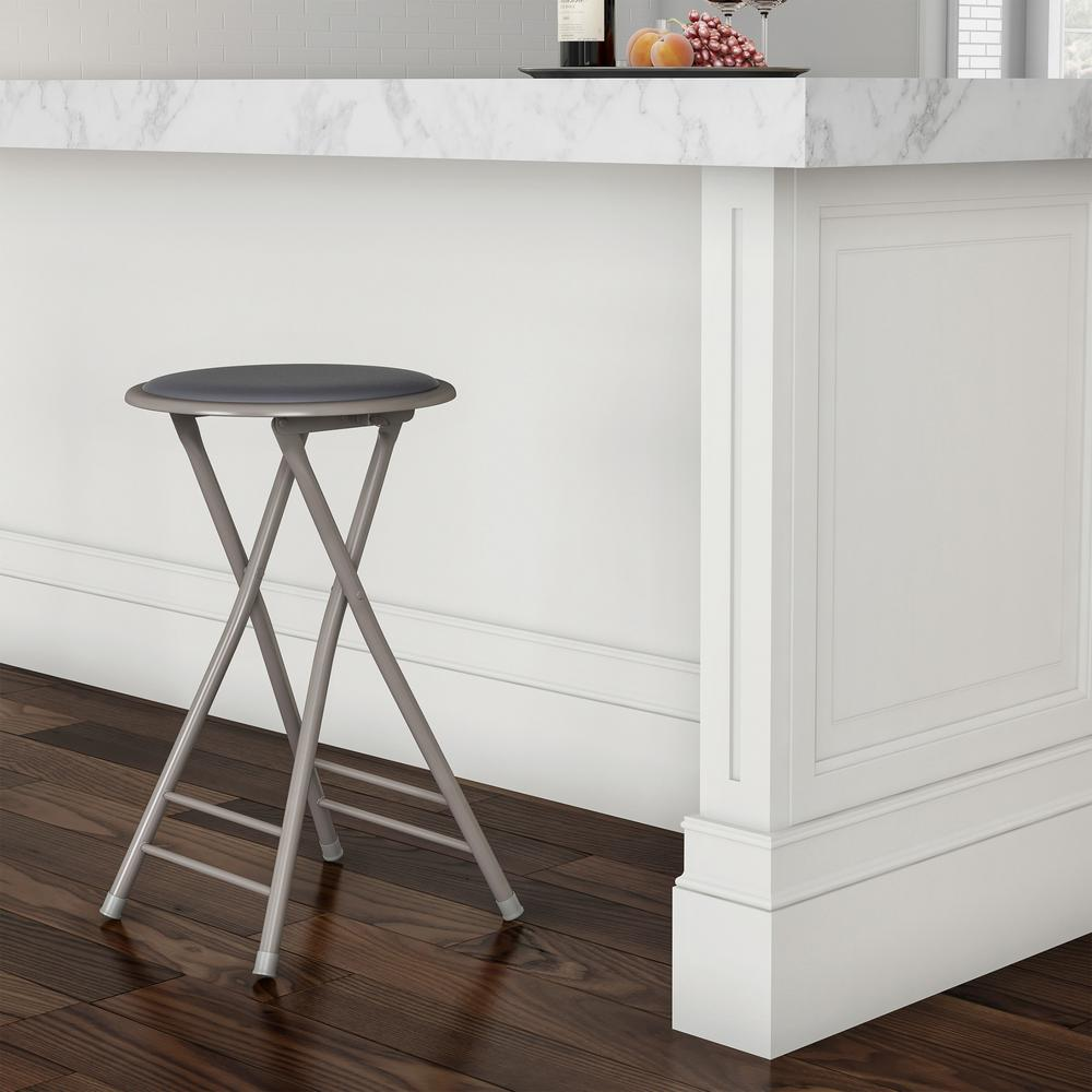 Superb Trademark Home 24 In Gray Heavy Duty Padded Round Folding Bar Stool Bralicious Painted Fabric Chair Ideas Braliciousco