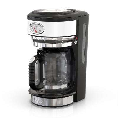 Retro Style 8-Cup Coffeemaker in White and Stainless-Steel