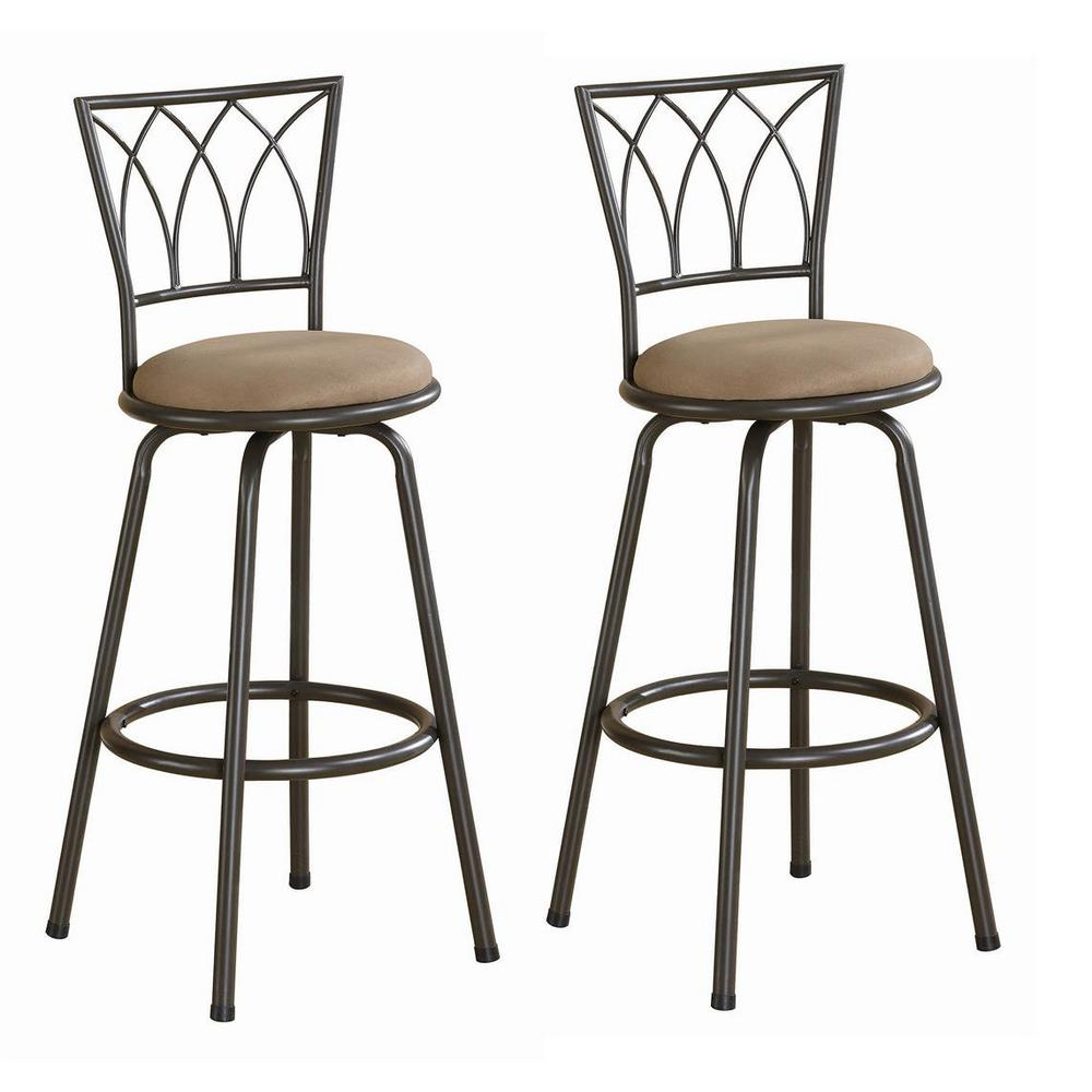 Coaster Home Furnishings 29  Metal Bar Stools with Upholstered Seat Brown and Bronze (Set of 2), Brown/Bronze Coaster Home Furnishings 29  Metal Bar Stools with Upholstered Seat Brown and Bronze (Set of 2), Brown/Bronze.