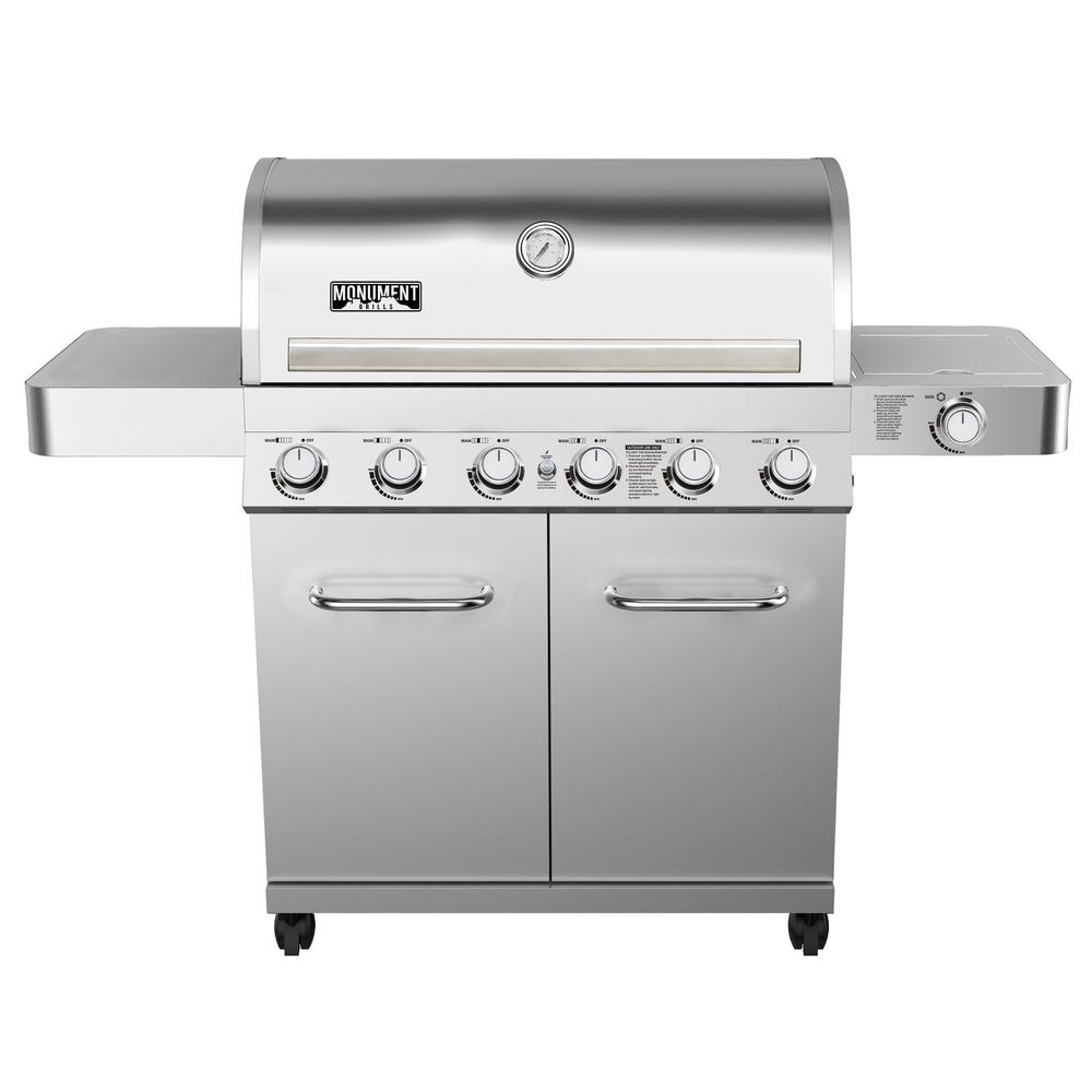 Monument Grills 6-Burner Propane Gas Grill in Stainless with LED Controls, Side Burner and Rotisserie Kit