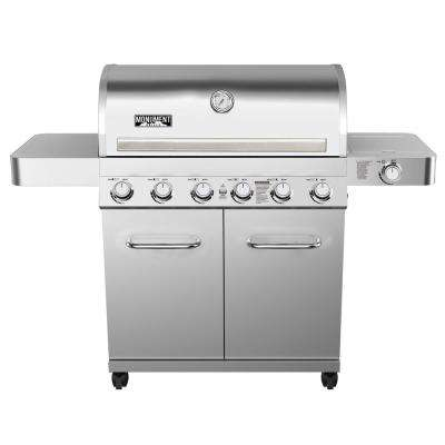 6-Burner Propane Gas Grill in Stainless with LED Controls, Side Burner and Rotisserie Kit
