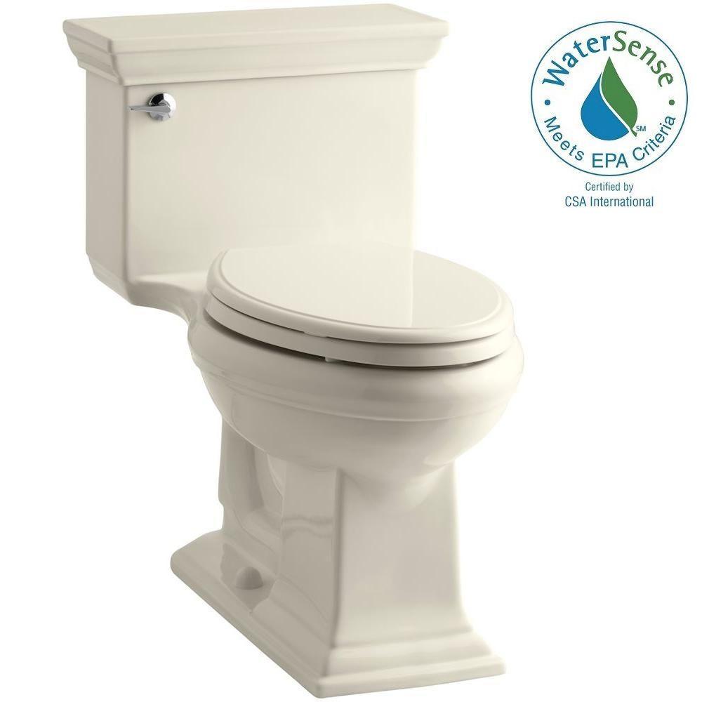 KOHLER Memoris Stately 1-Piece 1.28 GPF Single Flush Elongated Toilet with AquaPiston Flush Technology in Almond